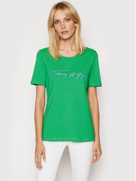 Tommy Hilfiger Tommy Hilfiger T-shirt Script Open-Nk Tee SS WW0WW29523 Zelena Regular Fit