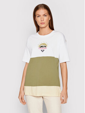 Roxy Roxy T-Shirt Addicted To Joy ERJZT05149 Zielony Loose Fit