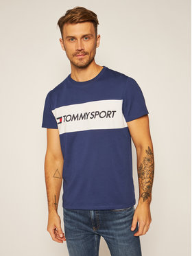 Tommy Sport Tommy Sport Póló Colourblock Logo S20S200375 Sötétkék Regular Fit