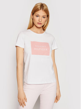 Tommy Hilfiger Tommy Hilfiger T-Shirt Tommy Box WW0WW30658 Biały Regular Fit