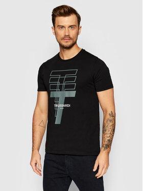 Trussardi Trussardi T-Shirt Logo 52T00522 Czarny Regular Fit