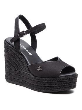 Calvin Klein Jeans Calvin Klein Jeans Espadrilky Wedge Sandal Ankle Strap YW0YW00121 Černá