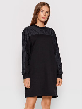 KARL LAGERFELD KARL LAGERFELD Kötött ruha Logo Poplin Sleeve 215W1351 Fekete Regular Fit