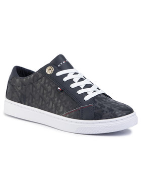 TOMMY HILFIGER TOMMY HILFIGER Sneakersy Tommy Jacquard Leather Sneaker FW0FW04602 Tmavomodrá