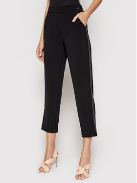Guess Guess Kalhoty z materiálu Eleanor W01B78 WC740 Černá Relaxed Fit