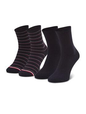 Tommy Hilfiger Tommy Hilfiger Sada 2 párů dámských vysokých ponožek 100002817 Tmavomodrá