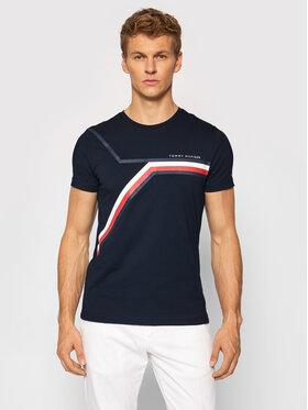 Tommy Hilfiger Tommy Hilfiger T-Shirt Split Chest Stripe MW0MW18724 Granatowy Regular Fit