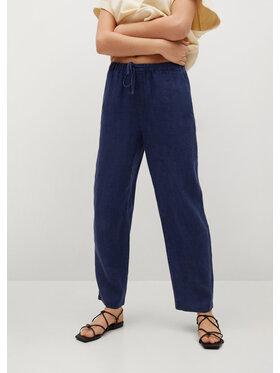 Mango Mango Spodnie materiałowe Linen 87047878 Granatowy Regular Fit