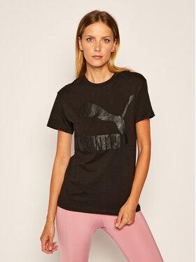 Puma Puma Marškinėliai Classic Logo Tee 597618 Juoda Regular Fit