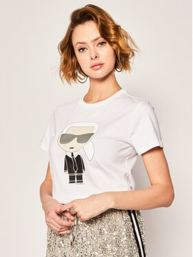 KARL LAGERFELD KARL LAGERFELD T-shirt Ikonik Karl 201W1713 Blanc Regular Fit