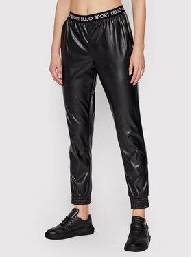 Liu Jo Sport Liu Jo Sport Панталони от имитация на кожа TF1052 E0641 Черен Regular Fit