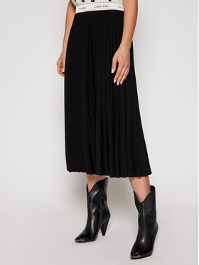Calvin Klein Calvin Klein Spódnica plisowana Stretch Flannel Pleat K20K202334 Czarny Regular Fit