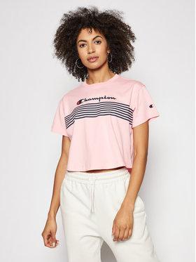 Champion Champion T-Shirt Script Logo Stripe Curved Hem Cropped 113098 Rosa Custom Fit