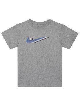 NIKE NIKE T-Shirt Sportswear Triple Swoosh Kids' Tee CU4572 Szary Standard Fit