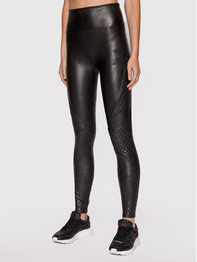 SPANX SPANX Colanți Faux Leather Quilted 20248R Negru Slim Fit