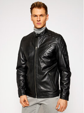 Pepe Jeans Pepe Jeans Veste en cuir Defoe PM402299 Noir Regular Fit