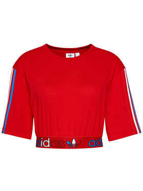 adidas adidas Bluse adicolor Primeblue Tricolor GN2935 Rot Relaxed Fit