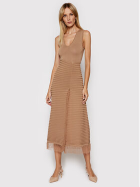 Pinko Pinko Sukienka dzianinowa Sprint PE 21 BLK01 1G15ZA Y6X8 Brązowy Slim Fit