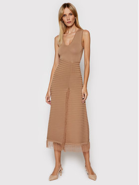 Pinko Pinko Trikotažinė suknelė Sprint PE 21 BLK01 1G15ZA Y6X8 Ruda Slim Fit