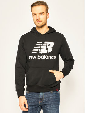 New Balance Mikina Essentials Stacked Logo MT91547 Čierna Relaxed Fit