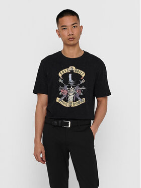 Only & Sons ONLY & SONS Póló Guns And Roses 22018622 Fekete Regular Fit