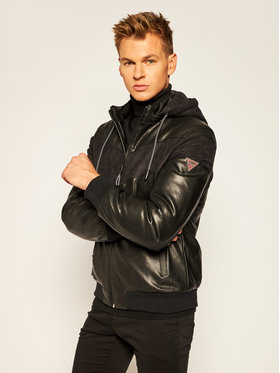 Guess Guess Giacca di pelle Mixed Bomber M0YL56 WD330 Nero Regular Fit