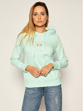 Under Armour Under Armour Bluză Ua Rival Fleece Metallic Hoodie 1356323 Verde Loose Fit