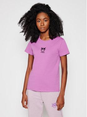 Pinko Pinko T-Shirt Bussolano PE 21 BLK01 1G1619 Y651 Fioletowy Slim Fit