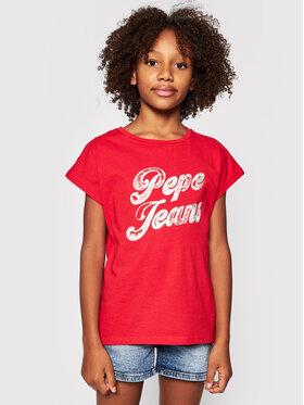Pepe Jeans Pepe Jeans Marškinėliai Sonia PG502709 Raudona Regular Fit