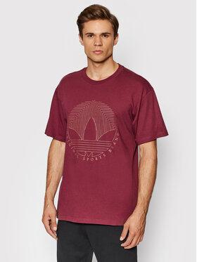 adidas adidas T-Shirt Deco Trefoil Tee H31333 Fioletowy Regular Fit