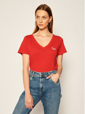 Tommy Jeans Tommy Jeans T-Shirt Tjw Chest Sign Off DW0DW08472 Rot Regular Fit