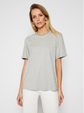 Victoria Victoria Beckham Victoria Victoria Beckham T-Shirt Logo Rib 2420JTS001996A Szary Relaxed Fit