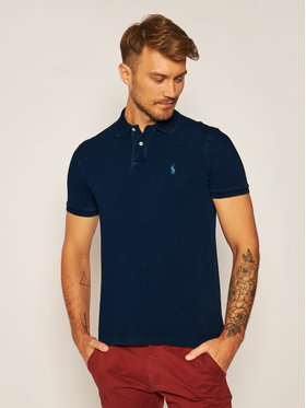 Polo Ralph Lauren Polo Ralph Lauren Тениска с яка и копчета Ssl-Knt 710814416007 Тъмносин Slim Fit