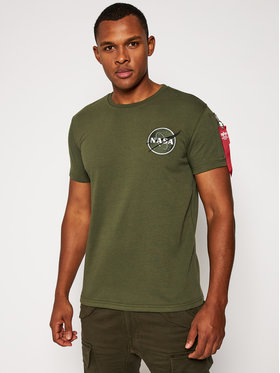 Alpha Industries Alpha Industries T-Shirt Nasa Heavy 188502 Zielony Regular Fit