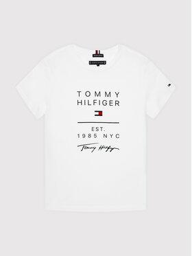 Tommy Hilfiger Tommy Hilfiger Tricou Graphic KB0KB06306 D Alb Regular Fit