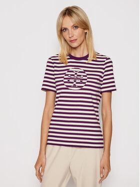 Tory Burch Tory Burch T-shirt Striped Logo 63871 Ljubičasta Regular Fit