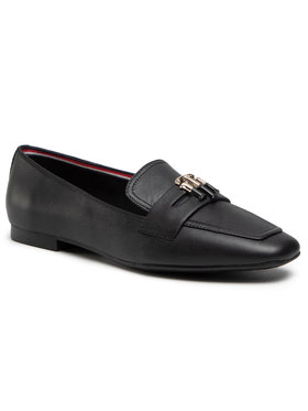 Tommy Hilfiger Tommy Hilfiger Slipper Essential Leather Loafer FW0FW05684 Schwarz