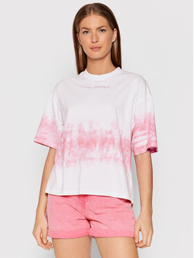 KARL LAGERFELD KARL LAGERFELD T-Shirt Tie-Dye Logo 215W1714 Biały Regular Fit