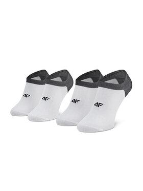 4F 4F Σετ κοντές κάλτσες ανδρικές 2 τεμαχίων H4L21 SOM001 Λευκό