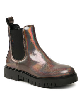 Tommy Jeans Tommy Jeans Sztyblety Iridescent Patent Chelsea Boot EN0EN01550 Brązowy