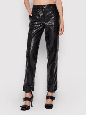 TWINSET TWINSET Kalhoty z imitace kůže 212TP2027 Černá Straight Fit