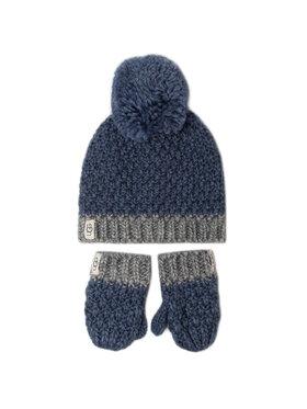 Ugg Ugg Zestaw Czapka i Rękawiczki K Infant Knit Hat And Mitt Set 18802 Niebieski
