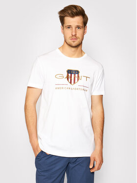 Gant Gant T-Shirt Archive Shield 2003099 Biały Regular Fit