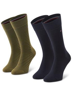 TOMMY HILFIGER TOMMY HILFIGER Sada 2 párů pánských vysokých ponožek 100001496 Zelená
