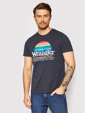Wrangler Wrangler T-Shirt Graphic W7AID3XAE Granatowy Regular Fit