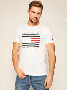 TOMMY HILFIGER TOMMY HILFIGER Póló Corp Flag Lines Tee MW0MW15334 Fehér Regular Fit