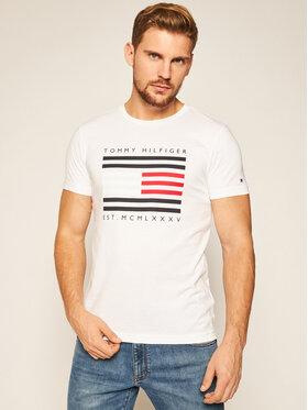 TOMMY HILFIGER TOMMY HILFIGER Tričko Corp Flag Lines Tee MW0MW15334 Biela Regular Fit