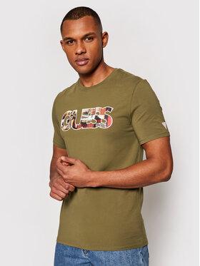 Guess Guess T-Shirt M1GI78 J1311 Zielony Slim Fit