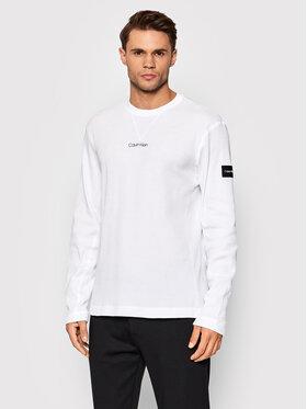 Calvin Klein Calvin Klein Longsleeve Waffle K10K107888 Biały Regular Fit