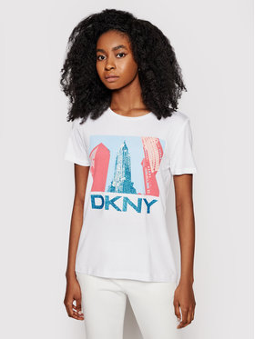 DKNY DKNY Póló P0DBHCNA Fehér Regular Fit